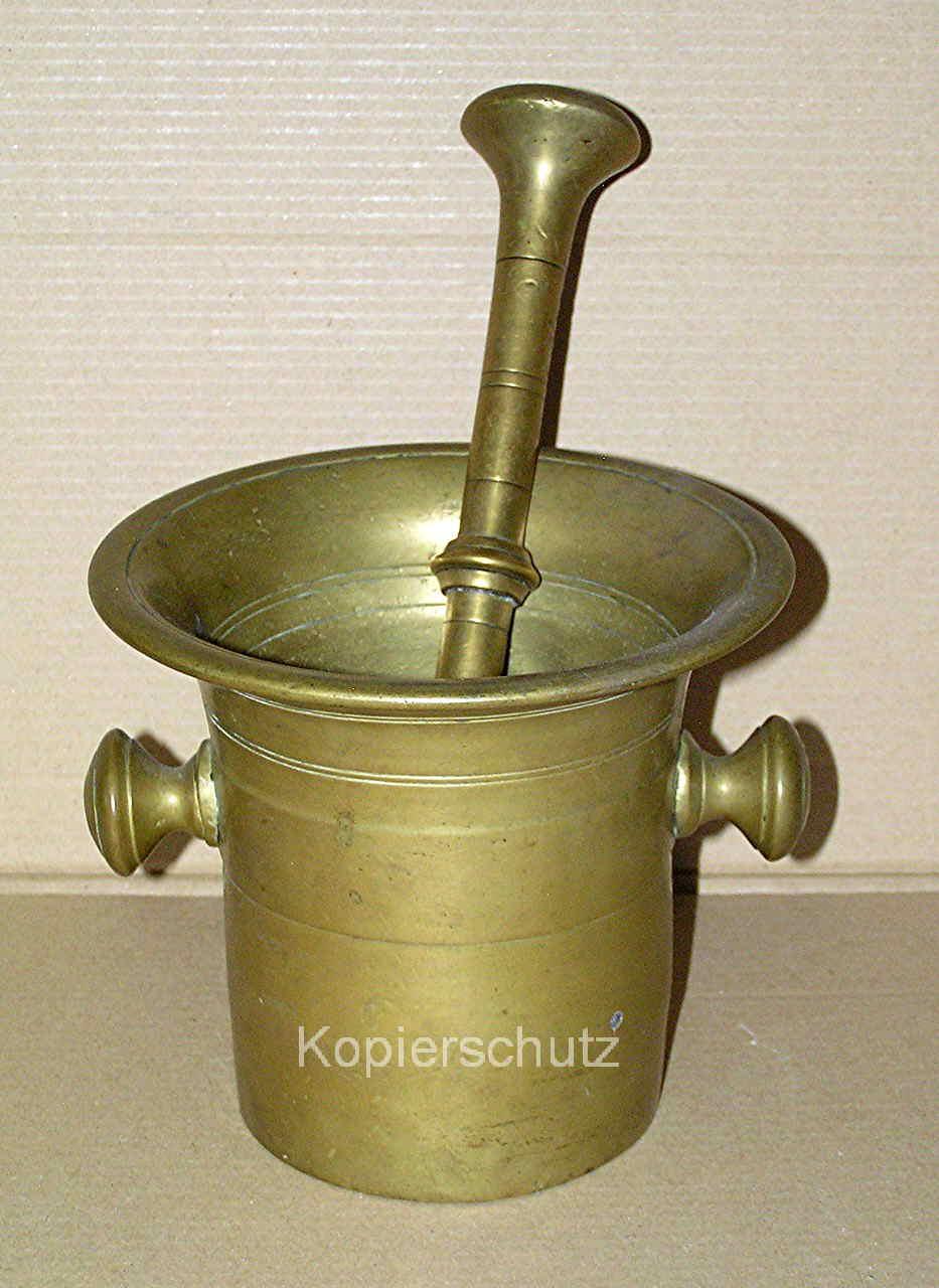 Bronze-Mörser mit Bronzestößel, sehr groß, sehr schwer, ca 5 Kg, um 1880 !!!